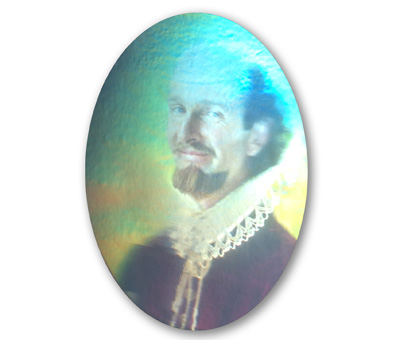 Smiling Shakespeare animated color hologram