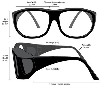 Laser Safety Glasses Dimensions